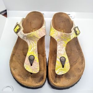 Papillio Birkenstocks Size 9 Yellow Grey Floral